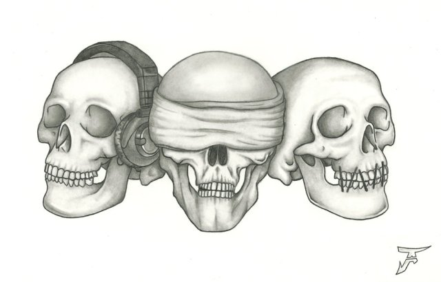 HEAR SEE SPEAK NO EVIL OMINOUS